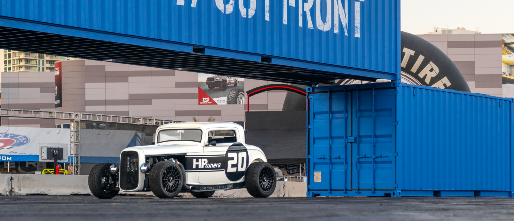 Tucci Hotrods '32 Ford Highboy at the Ford Out Front booth at SEMA 2019