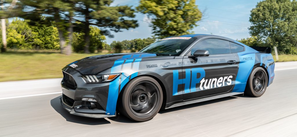 HP Tuners calibrated Ford Mustang roller shot.