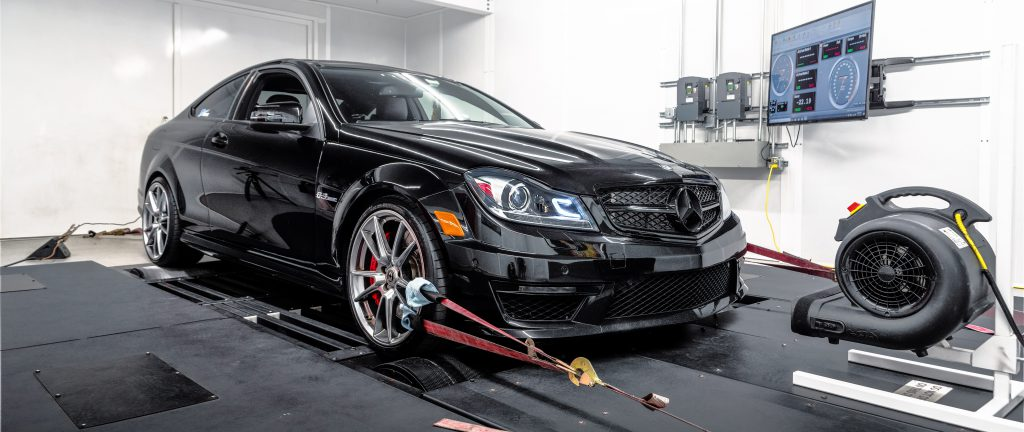 Mercedes C63 AMG strapped down to the dyno for some pulls.