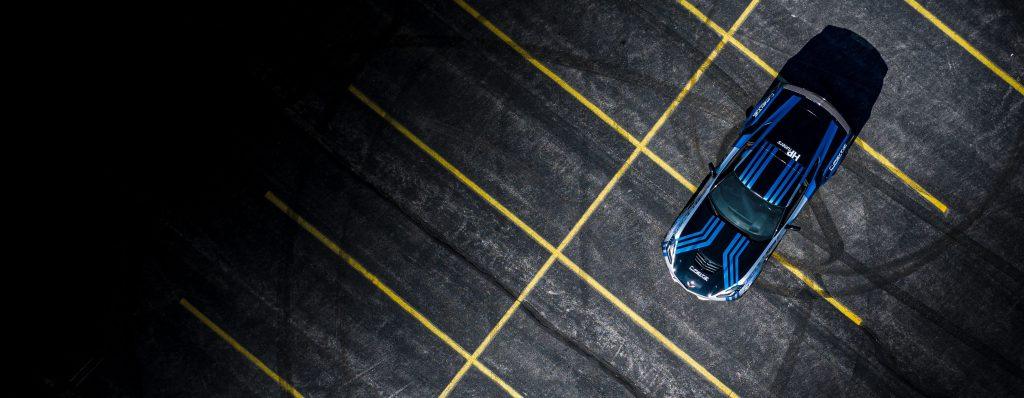 C7 Corvette overhead shot in parking lot.
