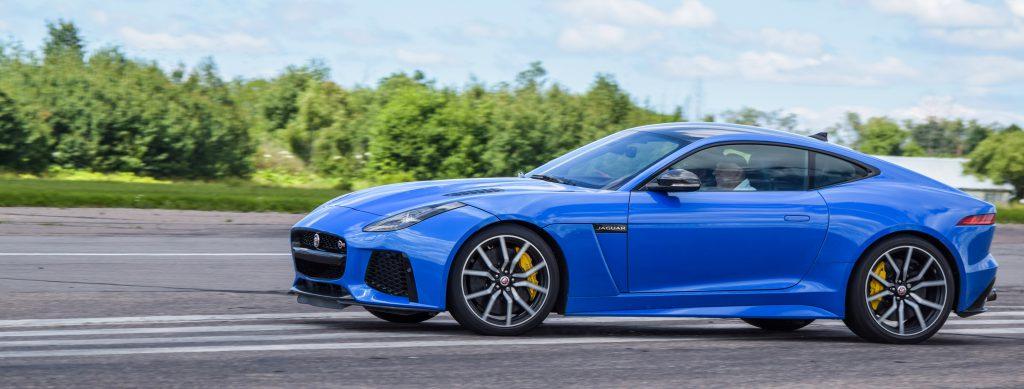 Jaguar F-Type SVR side shot during a hard turn on a test run.